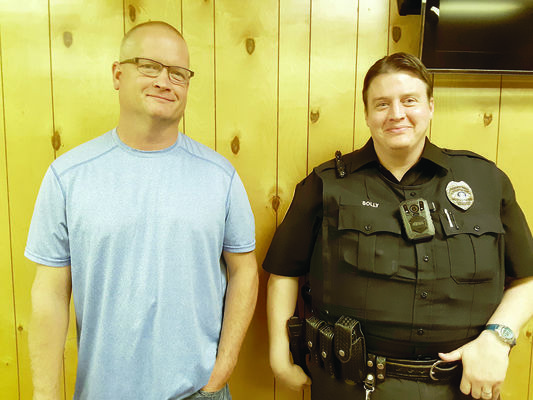 Michael Goff, left, and Shawn Solly were welcomed as the newest members of the APD during the recent Alto City Council meeting.