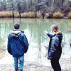 Christian Roper and Brackston McKnight lay eyes on Hendricks Lake, the alleged locale of sunken pirate treasure. The duo are currently working to make a documentary about the local legend of sunken silver ingots in the lake near Tatum.