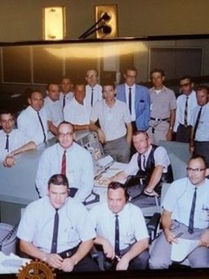 Larry Keyser, seated far right, is pictured with the NASA mission control team during an Apollo mission in the 1960's. Keyser, who now resides in Rusk, was a guest speaker during a recent Rusk Rotary meeting.