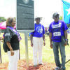 Photos by Michelle Dillon Fred Douglass alumni Oscar Fay Branch Williams, Charlie Mae Scott Esco and James Brown unveiled the historical marker dedicated to Fred Douglass School in Jacksonville at the site of the former institution across from Lincoln Park.