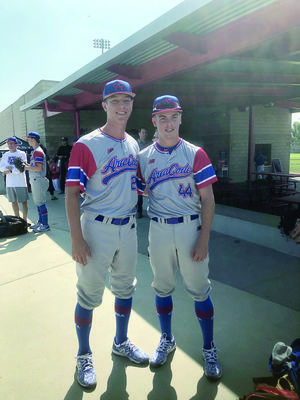 Smith (left) and J.D. Thompson of Rusk, both left-handed pitchers, participated in the 2019 Area Code Underclass Games after earning spots on the Texas Rangers' Underclass team.