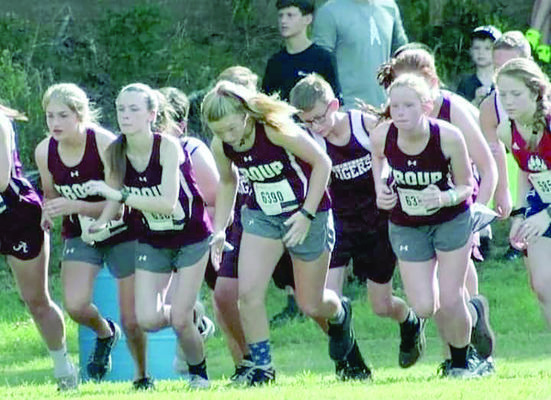 Courtesy Photo Troup varsity girls and junior high boys participated in the Union Grove Invitational Saturday, Aug. 24. Troup runners leaving the starting line are (from left) Danielle Puckett, Valerie Guthrie, Sarah Neel, Christian Howell and Marigold Hunter.