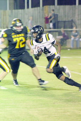 Photo Courtesy of Savana Dover Marlon Warren (pictured) received twice during the game against the Timpson Bears, gaining 33 and six yards respectively.