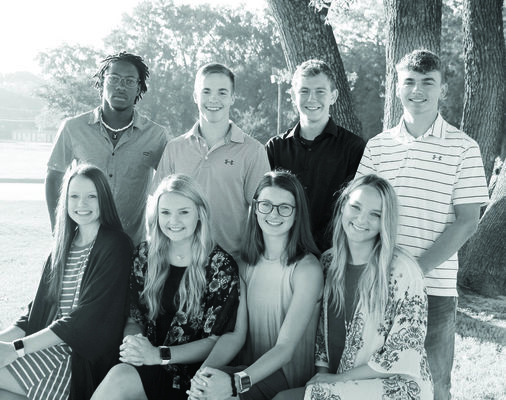 Photo by Kathy Marshall  Troup High School's 2019 homecoming court nominees are, pictured from left, Josie Martin, Kacie Young, Hadley Derrick, Katelyn Ballard; back row, from left, Desmon Deason, Max Hale, Jordan Elliott and Jaden Lewis. The Tigers face the Elkhart Elks for homecoming, Friday, Sept. 13, at Tiger Stadium in Troup.