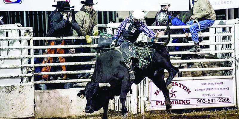 Courtesy photo Bull riders from across the country vie for top honors during the Nicky Wheeler bull riding rodeo, to be held Saturday, Sept. 28, in Jacksonville.