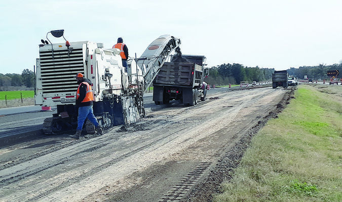Photo by Cristin Parker Crewmen continue work on the northbound side of U.S. Hwy. 69 just outside of Wells last week.