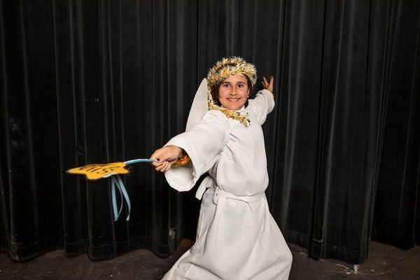 Emery Norman, as Gladys Herdman, wields the Christmas spirit as the Angel of the Lord.