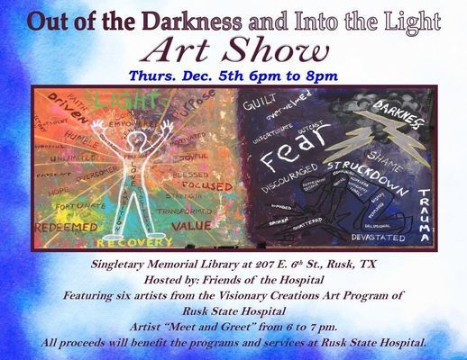 Courtesy photo 'From the Darkness, Into the Light,' created by a RHS client, is just one artwork to be displayed at the RPL.
