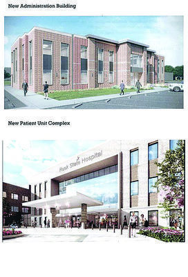 Artwork courtesy of Texas Health & Human Services Top: An architect's rendering of the new Rusk State Hospital administration building. Bottom: An architect's rendering of the new patients' unit of the Rusk State Hospital.