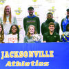 Photo by Jessica Payne Jacksonville seniors participating in National Signing Day, front row from left to right were, Saylor Williams, signing with A & M Commerce; Jordyn Whitaker,  signing with University of Texas; Kelsey Traylor, signing with LeTourneau University; Cooper Coughlin signing with Jacksonville College; and Chris Carpenter signing with Colorado University.