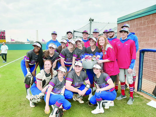 Photo by Michelle Dillon  Bullard Lady Panthers pose with Panthers baseball team members who had delivered a bucket of goodies for the ladies prior to the game.