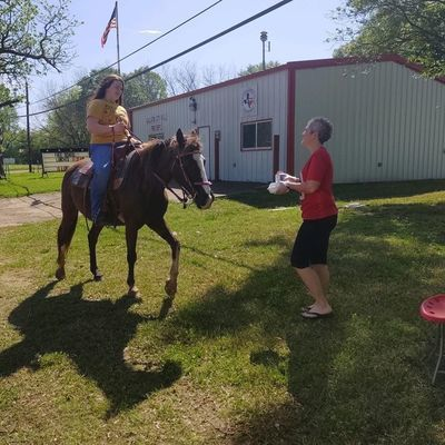 Courtesy photo Rusk Junior High student Morgan Loden, of Gallatin, makes the best of last week's beautiful weather by grabbing her lunch at the GVFD via horseback. The Gallatin site has been shuttered as the county's COVID-19 cases continue to increase.