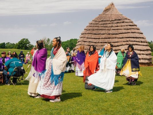 Courtesy photo Volunteers participate in 2018's Caddo Culture Day at the Caddo Mounds State Historic Site.