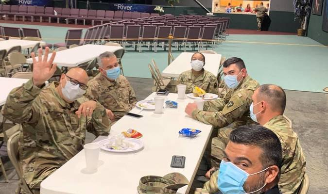 National Guardsmen enjoy lunch, provided by the River a Church for Whosoever in Alto, during the recent COVID-19 testing event held at the church on Monday. Guardsmen were onhand to help conduct the event.