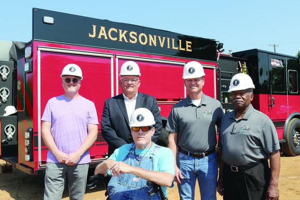 Jacksonville City Councilmen, from left, Rob Gowin, Mayor Randy Gorham, Tim McRae, Hubert Robinson and Jeff Smith (sitting).