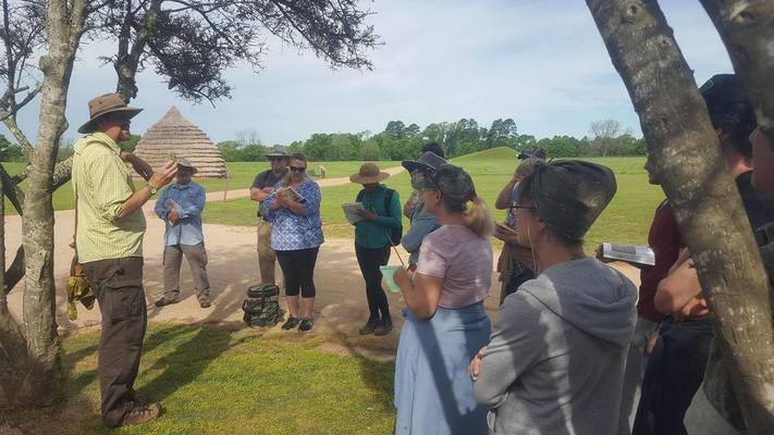 Courtesy photo Visitors to the Caddo Mounds State Historic Site learn how to live off the land during a Foraging with Merriwether workshop held prior to the April 2019 tornadoes that swept through Alto and did major damage to the site.
