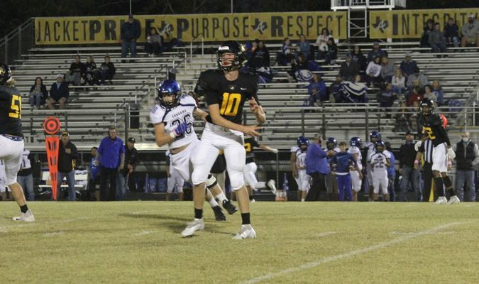 #10 Eagle Landon Cook, a sophomore quarterback, debuted his first offensive action of the 2020 football season during Friday night's home game.