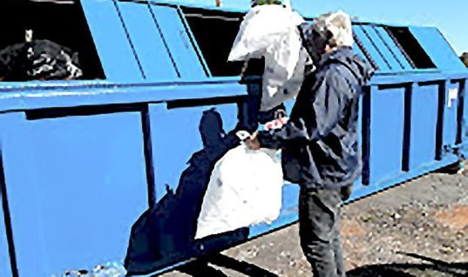 Rusk resident Jerry Parker utilizes the recycle bin located at the Rusk Civic Center, 555 Euclid St., Rusk. Visit the City of Rusk's website for details on what's acceptable recyclables.   Photo courtesy of Cristin Parker