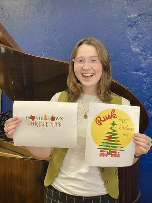 Sophie Philibert creates winning design for 2021 'Hometown Christmas event.   Photo courtesy of the Rusk Chamber of Commerce