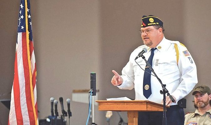 Army veteran and retired Wise County sheriff's deputy Gene Vanover speaks during the Celebration of Heroes.   MICHELLE MULLINS PHOTO