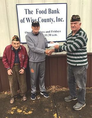 Thank you to VFW Post 4301 of Norton for their recent donation to the Food Bank of Wise County.  Pictured are VFW members Burns Gilliam and Phillip Adams  presenting a  check to Bill Gilliam, chairman  of the food bank board.
