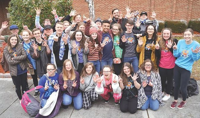Eastside High School's one act drama team celebrates its sixth state championship title Monday in Charlottesville.  BRANDON WHITE PHOTO