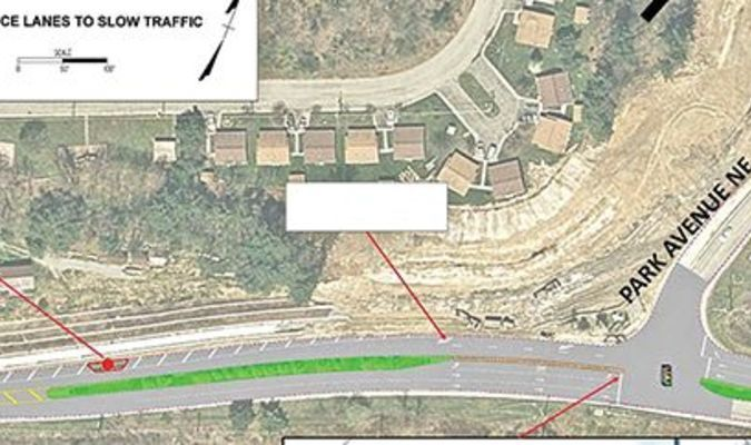 This map shows the option of reducing Park Avenue to two lanes heading from downtown to Tipple Hill.