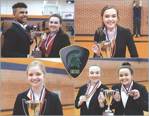 First place winner are left to right, top row: Malik Jallow, Hadassah White, Sarah Burke. Bottom row: Cloey Bailey, Caitlyn Shepherd, Gabby Brooks