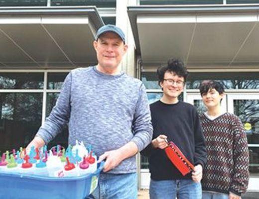 Bob Collins, Ryan Collins, Charlie Marrison delivered 32 bottles of hand sanitizer.