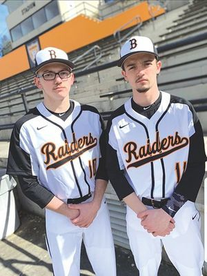 J.I. Burton Raider baseball senior Jonah Cochrane (right) - SUBMITTED PHOTO
