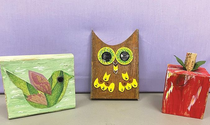 Shelly Knox created these sample crafts for the next Trash Treasures workshop.