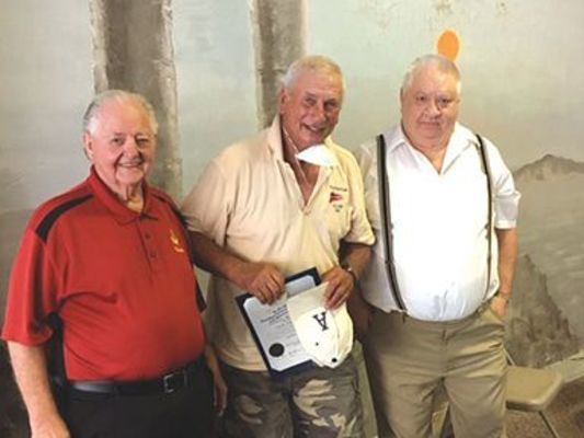 Pictured on left: Chuck Taylor member of Masonic Lodge 229 A.F.A.M. in Appalachia, Charles R. 'Randy' Blair receiving award 'Community Builders Award' and Hobert Bowers, Worshipful Master, Masonic Lodge 229 A.F.A.M. in Appalachia.