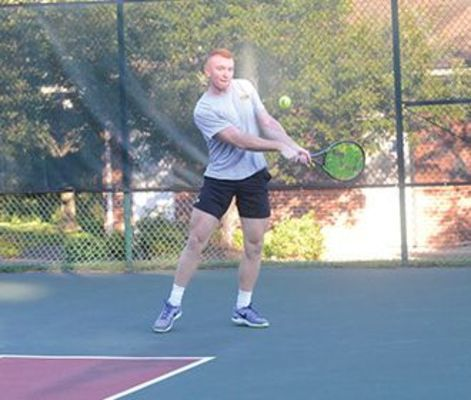UVA Wise's Connor Giza in the 2020 Coalfield Progress-UVA Wise tennis tournament.
