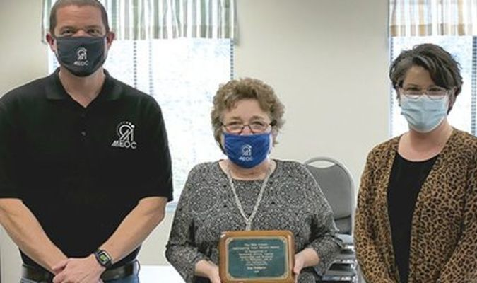 Irma Snodgrass (center) is the 2020 Mae French Outstanding Older Worker Award recipient. Mountain Empire Older Citizens presents the award annually. Snodgrass has worked for MEOC for 41 years. With her are MEOC Executive Director Michael Wampler and Older Worker Program Director Carrie Stallard.
