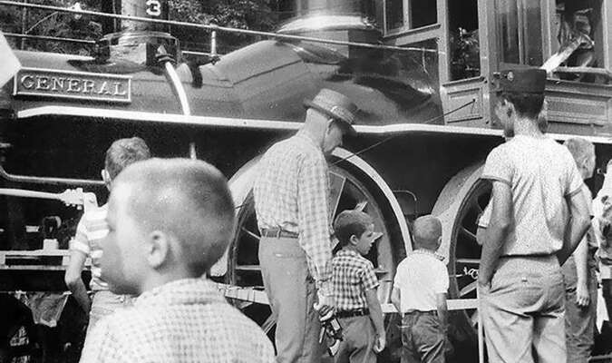 A portion of the crowd that turned out the see the 'General' in Appalachia is shown on August 16, 1962. Obviously, the locomotive attracted visitors of all generations. (Ron Flanary Photo)
