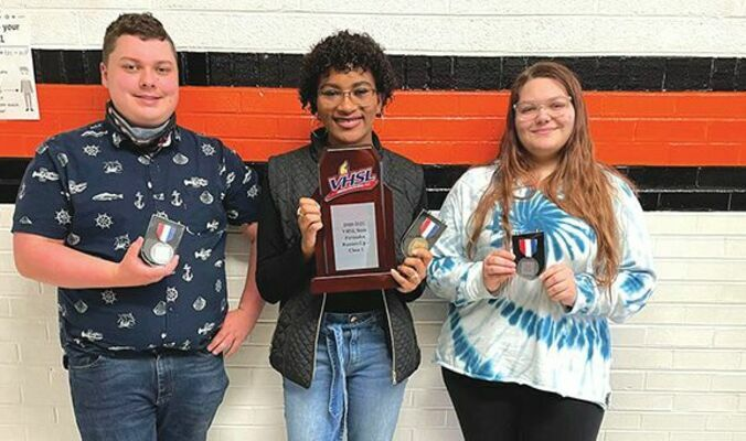 Burton High School individual forensic state competition winners include Noah Elkins, second place, storytelling; Shamiyeh Noel, first place, humorous interpretation; and Elora Hutchinson, second place, serious dramatic interpretation. The Raiders are the 2021 Class 1A runners-up.  ASHLEY ADDISON PHOTO