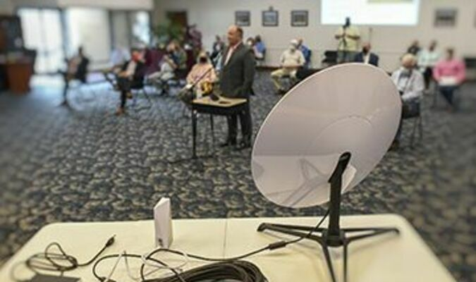 Wise County schools Director of Technology Scott Kiser gives a presentation Thursday morning on the Starlink satellite-based internet project.  TIM COX PHOTO
