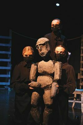 Dallas Meade was cast as the voice of Caliban and along with Caitlyn Shepherd and Kyleigh Harmon they perform in perfect unison to create the creature using a puppet designed and built by the students at Eastside.