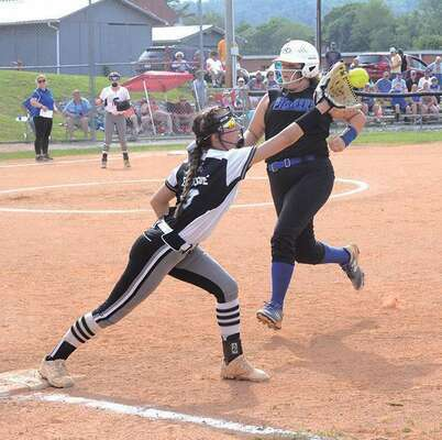 Liz Brace was ready for the throw from Taylor Perry to score the double play. PHOTO BY KELLEY PEARSON