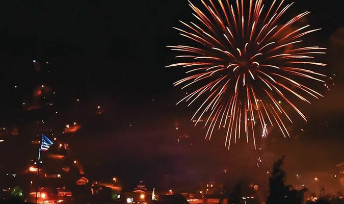 Fireworks light the sky above Norton Saturday night, as viewed from the Flag Rock area.  R.J.  ROSE PHOTO