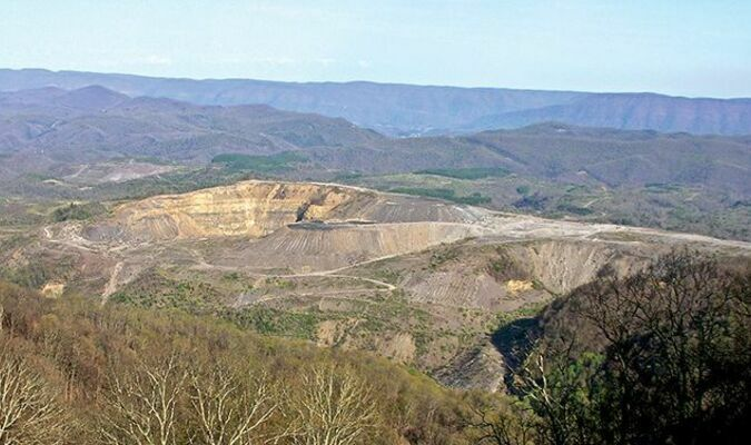 At the foot of Black Mountain on the Virginia side is the long-idled Looney Ridge mine, where some reclamation activity has resumed.  FILE PHOTO