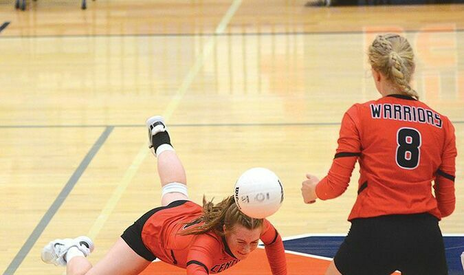Central's Bayleigh Allison gets her arm just under this kill-attempt to keep the ball active and in play. PHOTO BY KELLEY PEARSON