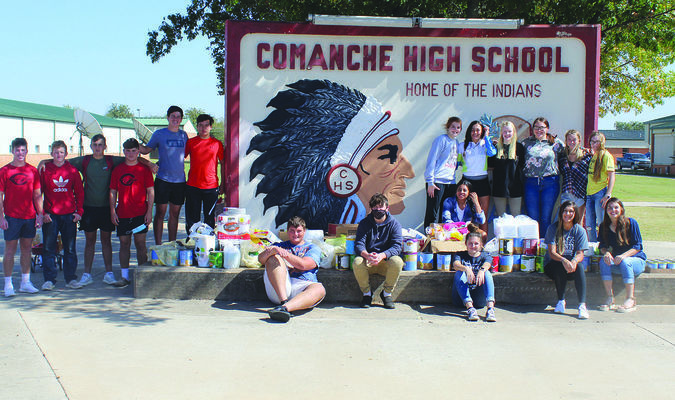 Some members of the Comanche Student Council and National Honor Society display the items they collected for hurricane relief effort