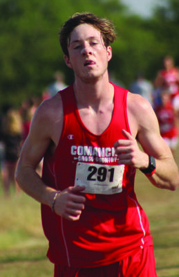 Comanche's Landon Ellis prepares to take the turn at the halfway mark at the Duncan cross country meet last Saturday. Ellis finished seventh overall.