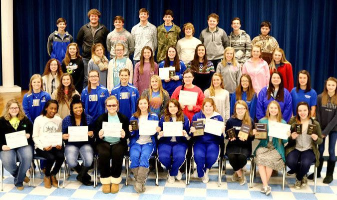 The students and their awarded areas are: Victoria Adams - Healthcare Administration - 7th place; Spencer Alter - Sports Marketing - 7th place; Molly Anderson - Who's Who in FBLA - Honorable Mention; Shelby Anderson - Who's Who in FBLA - 1st place, and Website Design - 1st place; Abbey Baker - Intro to Business Presentation - 2nd place; Delia Barrett - Who's Who in FBLA - Honorable Mention; Monica Box - Intro to Information Technology - 3rd place; Deja Coleman - Economics - 9th place; Anna Cunningham - Word Processing - 1st place; TJ Cupples - Intro to Business - 7th place; Rachel Daniels - Computer Applications - 8th place; Jordan Davis - Business Ethics - 1st place; Lane Eldridge - Sports Marketing - 7th place; Peyton Gassaway - Digital Video Production - 1st place; Samm Golden - Publication Design - 2nd place; Gillian Griffin - Intro to Business Procedures - 5th place; Christian Hatcher - Sports Marketing - 7th place; Autumn Johnson - Insurance and Risk Management - 7th place; Lauren Kemp - Spreadsheet - 4th place; Jon Lacotts - Emerging Business Issues - 2nd place; Wyatt Luebke - Digital Video Production - 1st place; Jake Mitchell - Securities and Investment - 2nd place; Alyssa Pfaffenberger - Intro to Parliamentary Procedures - 2nd place; Caleb Price - Agribusiness - 2nd place; Morgan Punchard - Website Design - 1st place; Karli Rieves - Intro to Financial Math - 10th place; Cadence Rutherford - Intro to Business Presentation - 2nd place; Jordan Thompson - Impromptu Speaking - 4th place; Sara Thompson - Publication Design - 2nd place; Emily Tripplet - Business Ethics - 1st place; Jasmine Walton - CyberSecurity - 8th place; Tessah West - Digital Video Production - 1st place; Camden Westfall - Intro to Business Presentation - 2nd place; Nicholas Wright - Emerging Business Issues - 2nd place.