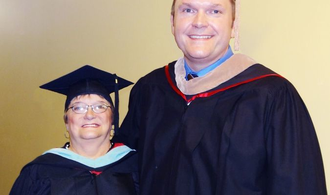 Born in Stuttgart and having grown up working on his family's rice farm in DeWitt, Chris Turner, now of Dallas, TX, delivering an inspiring message to our 2016 graduates of PCCUA in Arkansas County. Turner is pictured with his mother, PCCUA-DeWitt Vice Chancellor Carolyn Turner. Photo By Rhonda St. Columbia.