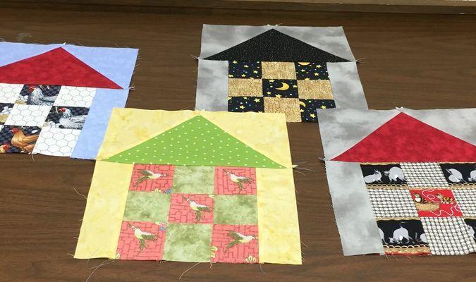 Glenda's nine-patch house quilt blocks