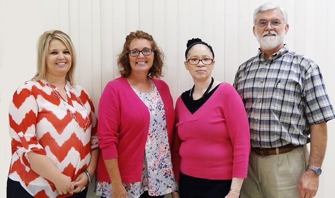 These Phillips Community College employees were recently honored for 15 years of service to the institution. Pictured are (L-R) Stephanie Terry (Helena), Nia Rieves (DeWitt), Kattie Alexander (Helena), and Jerry Baldridge (Stuttgart).