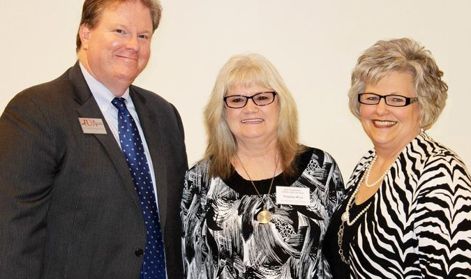 (L-R) PCCUA Chancellor Dr.Keith Pinchback, West's mother, Virginia West, and PCCUA Foundation Development Officer Diana Graves.