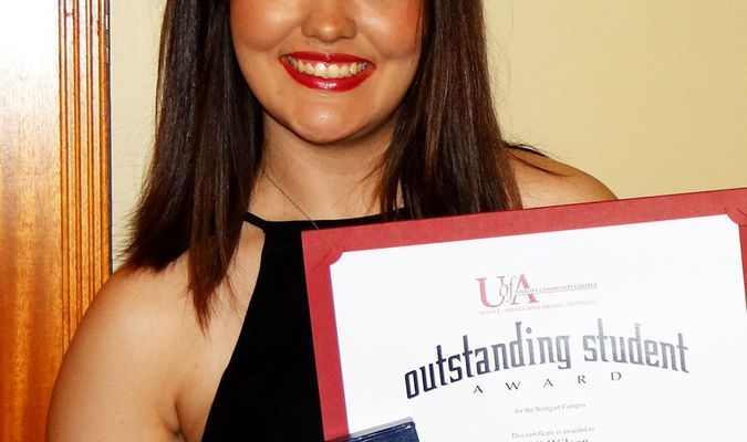 Receiving special recognition as PCCUA's Outstanding Student for the Stuttgart Campus was Kali Wilson, of Stuttgart.